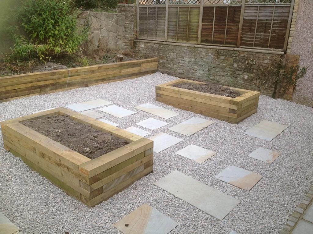 Green man gardens landscape gardening after patios decking for Garden decking before and after