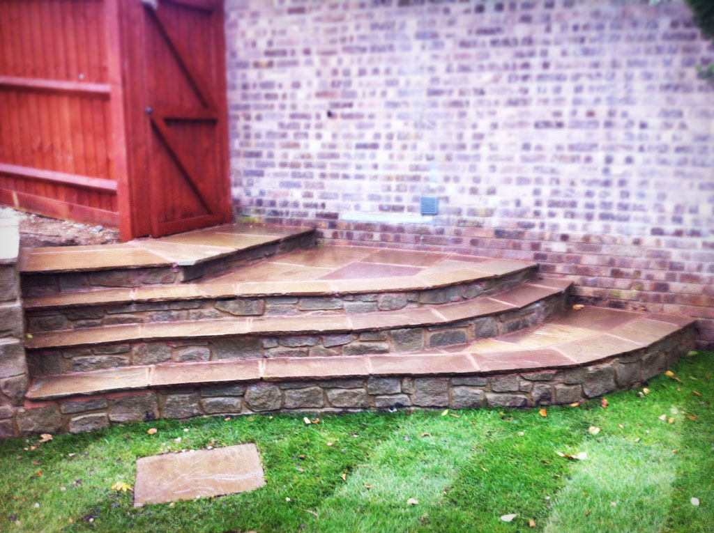 Laying Natural Stone : Natural stone walling lawn turf laying chepstow stepping