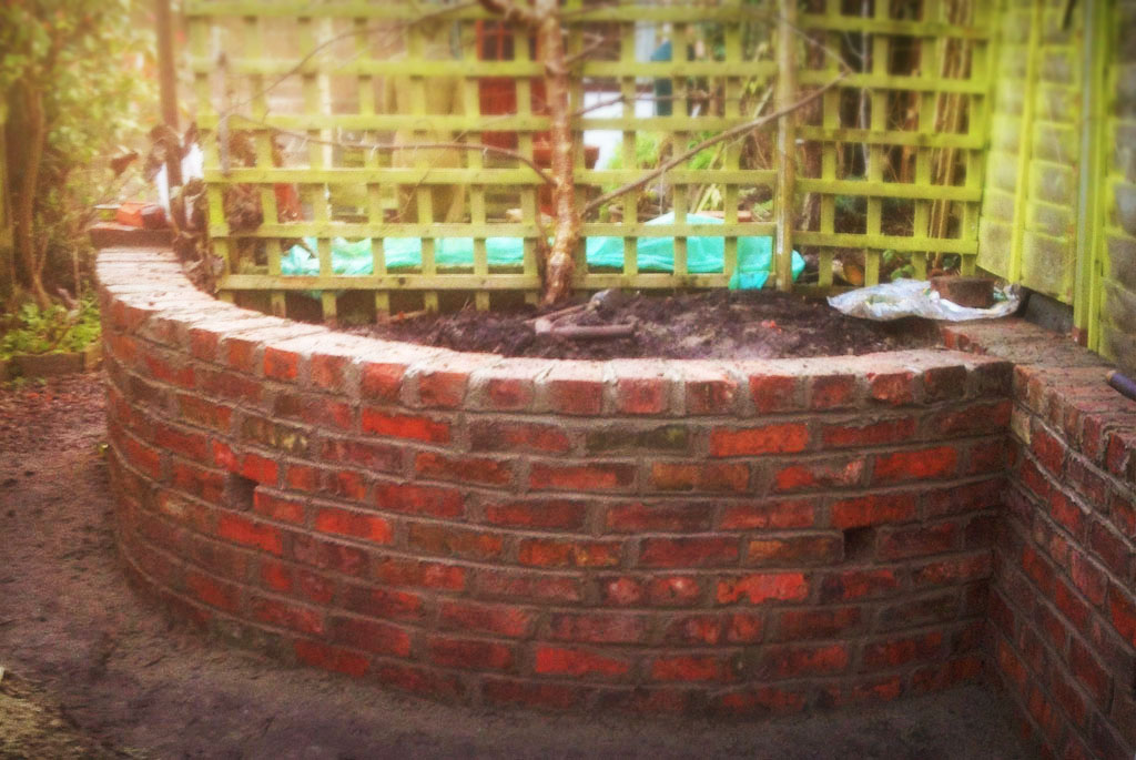 Reclaimed Brick Planter Retaining Wall Blue Slate Path Newnham on Severn